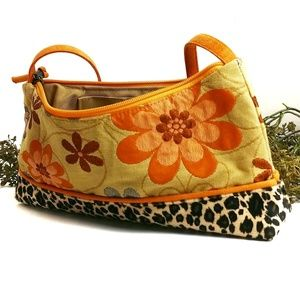 ATENTI Boho Floral Animal Print Orange Purse